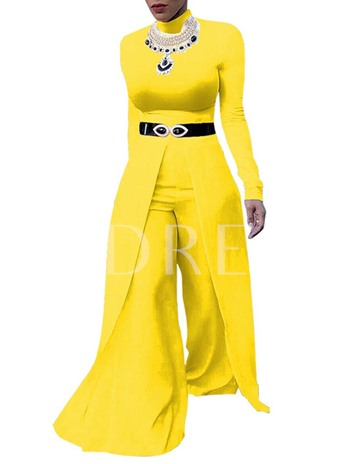Slim Plain High-Waist Patchwork Women's Jumpsuit(no belt and necklace)