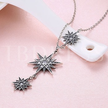 Star Fine Silver Zircon Retro Necklace