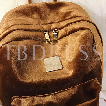 Casual Solid Color Velvet Women Backpack