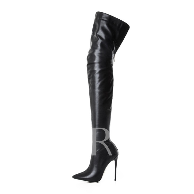 Pointed Toe Back Zipper High Heel Black Sexy Thigh High Boots for Women