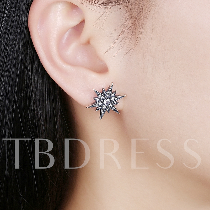 Star Shaped Sterling Silver Zircon Earrings