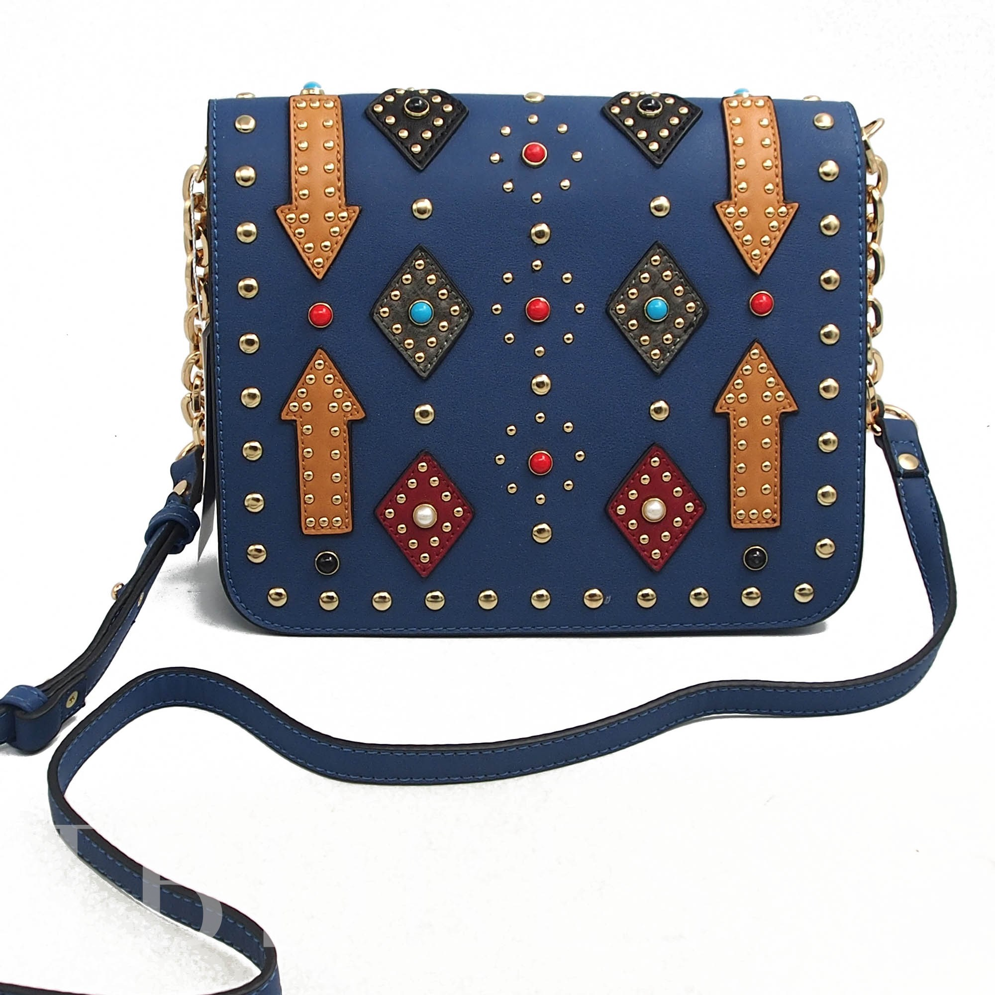 Stylish Rivet Decoration PU Women Cross Bag