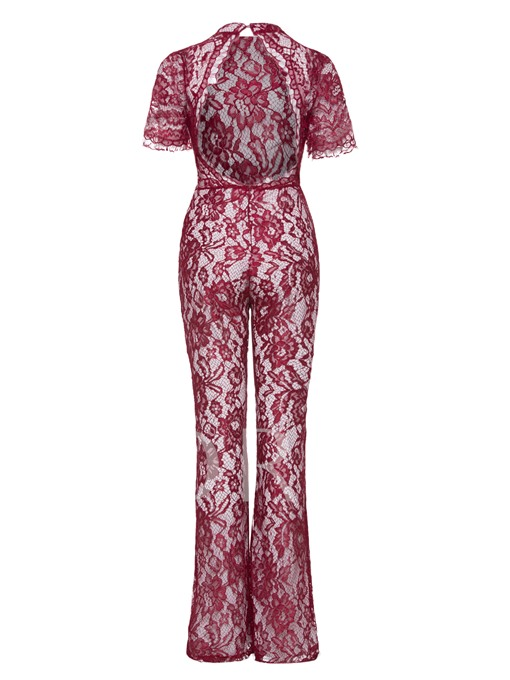 Color Block Lace Backless Women's Jumpsuit