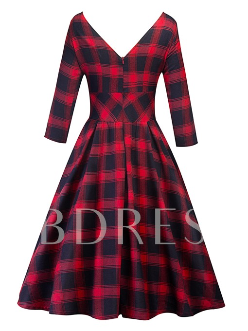 Red Plaid Long Sleeve Women's Day Dress