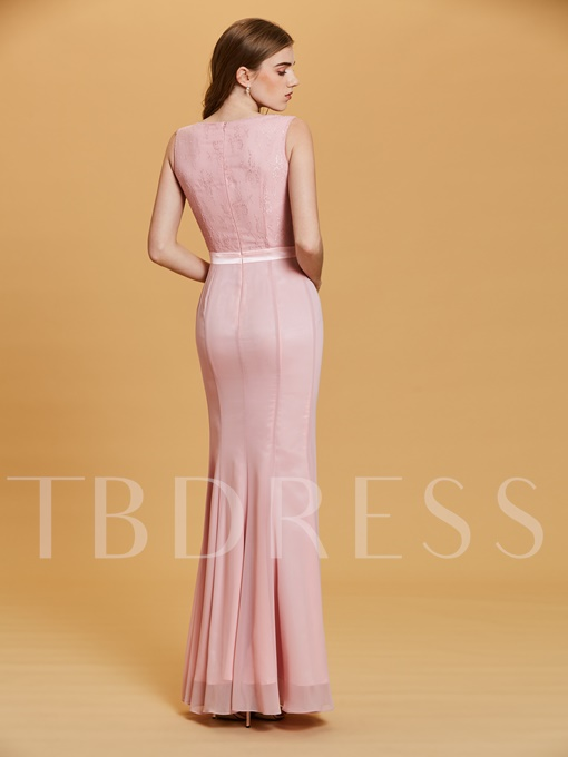 V Neck Split-Front Sheath Evening Dress