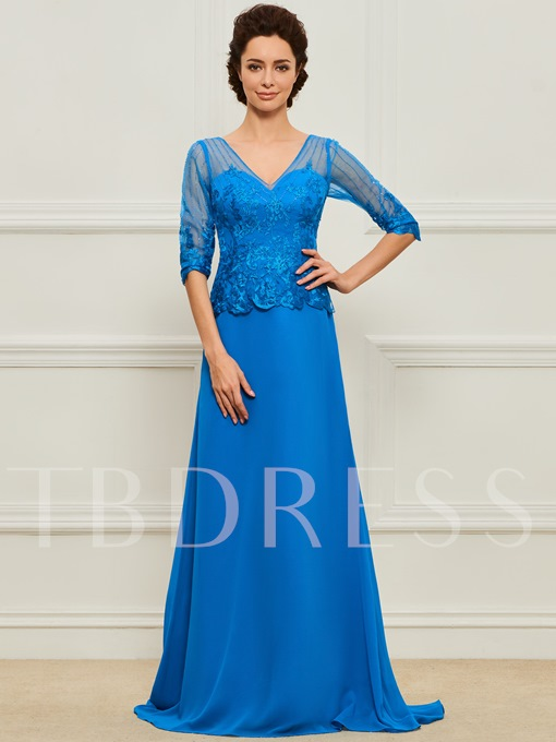 Beaded Appliques Mother Dress with Half Sleeve