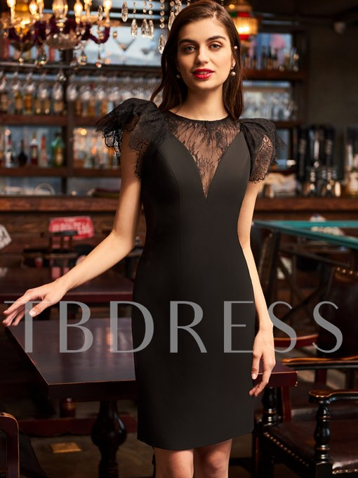 Scoop Cap Sleeves Sheath Lace Cocktail Dress