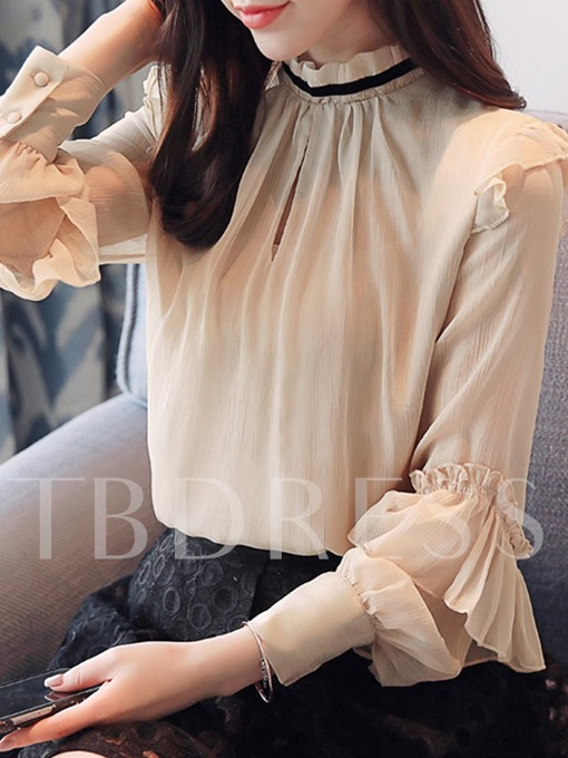 Pleated Ruffle Sleeve Stand Collar Women's Shirt