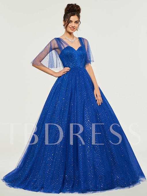 Sweetheart Half Sleeves Floor-Length Ball Gown Dress