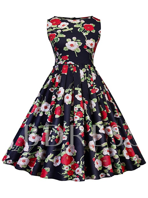 Floral Pattern Sleeveless Women's Day Dress