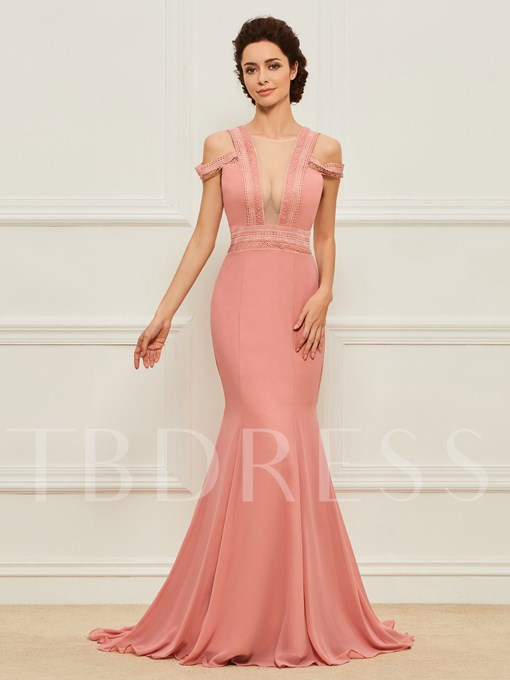 Sheer Neck Lace Straps Mother of the Bride Dress
