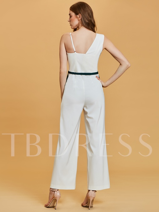 One Shoulder Contrast Color Ankle-Length Evening Jumpsuits