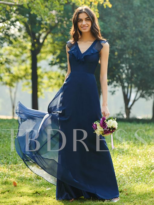 Ruffled V-Neck Long Bridesmaid Dress