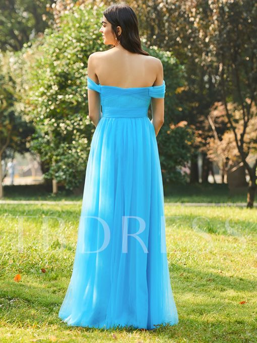 Off the Shoulder Ruched Long Bridesmaid Dress