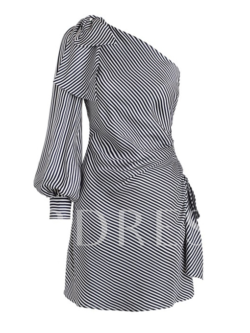 Striped One Shoulder Lace-Up Women's Day Dress