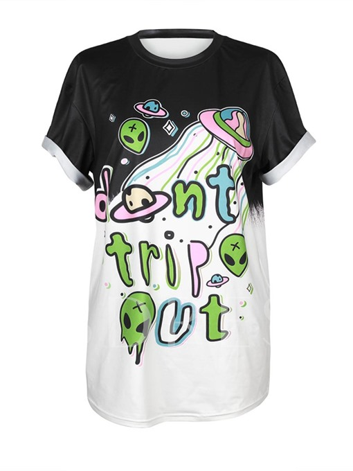 Alien And Letter Print Short Sleeve Women's T-Shirt