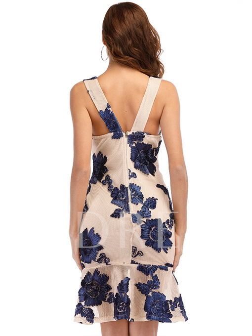 Appliques Backless Women's Bodycon Dress