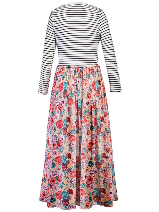 Long Striped Floral Women's Maxi Dress