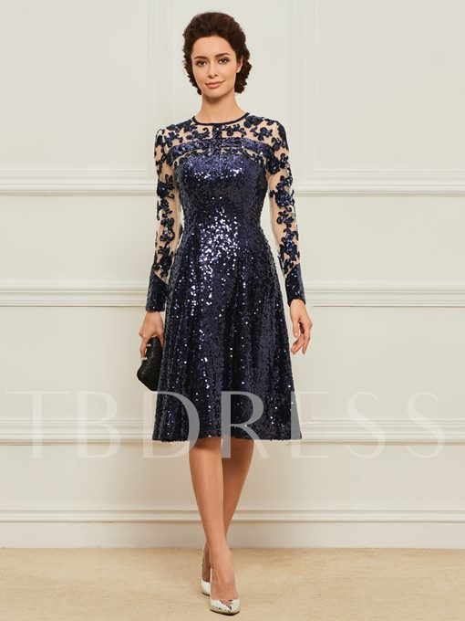 Sequines Mother of the Bride Dress with Long Sleeve
