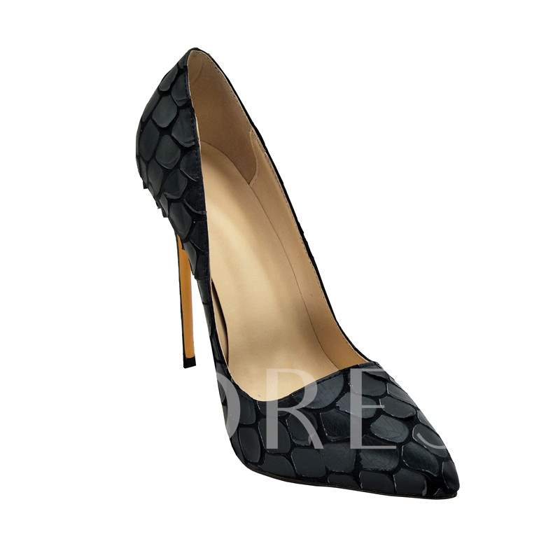 Pointed Toe High Heel Patchwork Black Pumps for Women