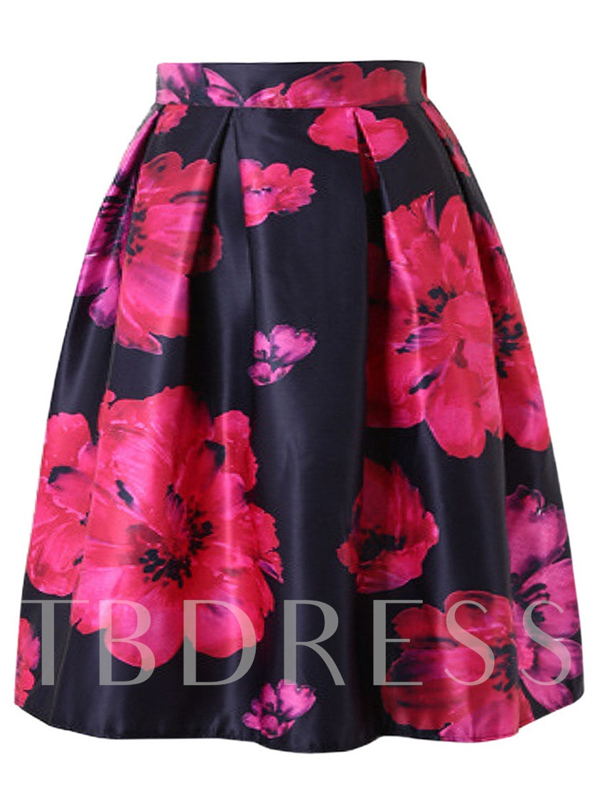 Elegant Pleated Floral Print A-Line Women's Skirt