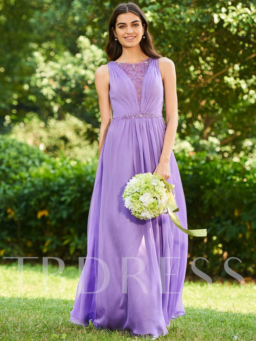 Straps Beaded Lace Bridesmaid Dress