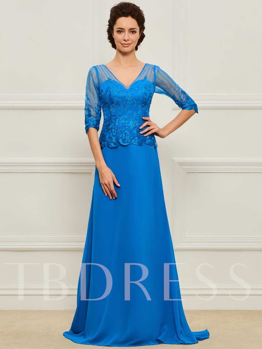 Beaded Appliques Mother of the Bride Dress with Half Sleeve