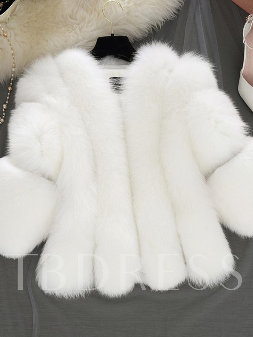 Plus Size Faux Fur Three-Quarter Sleeve Women's Overcoat