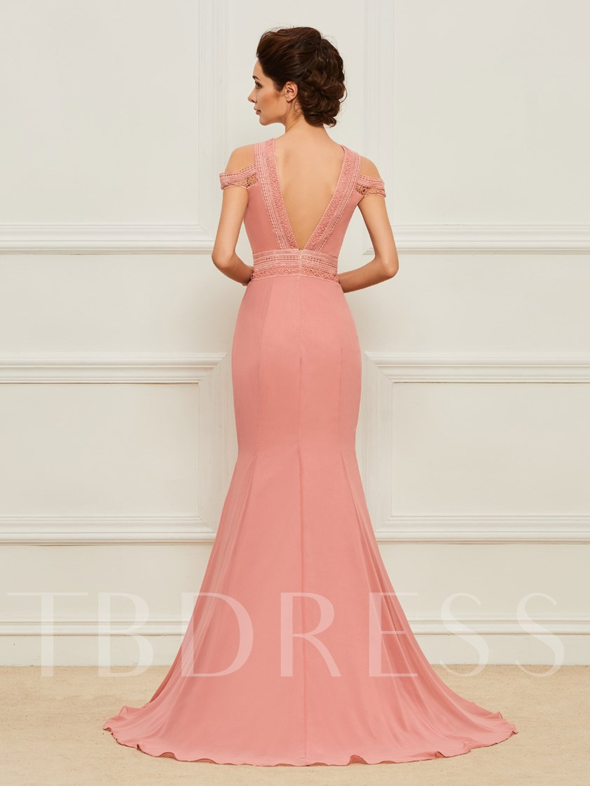 Sheer Neck Lace Mermaid Mother of the Bride Dress