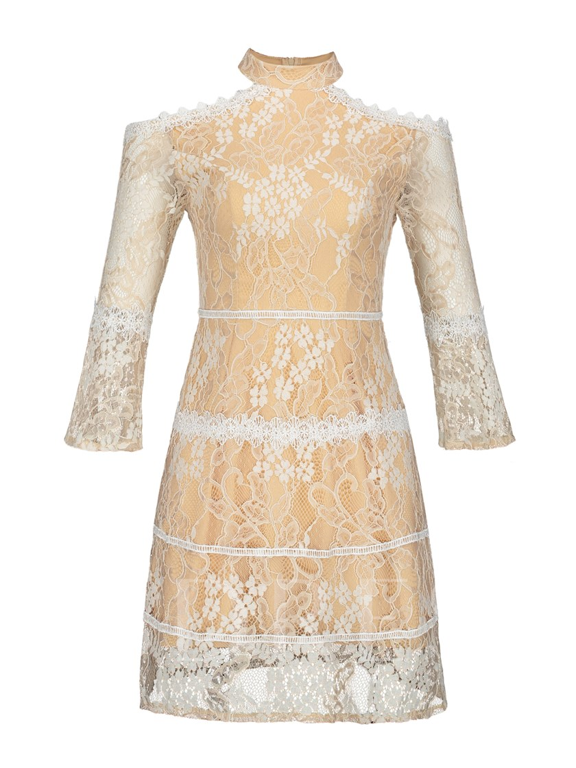 Stand Collar Flare Sleeve Women's Lace Dress