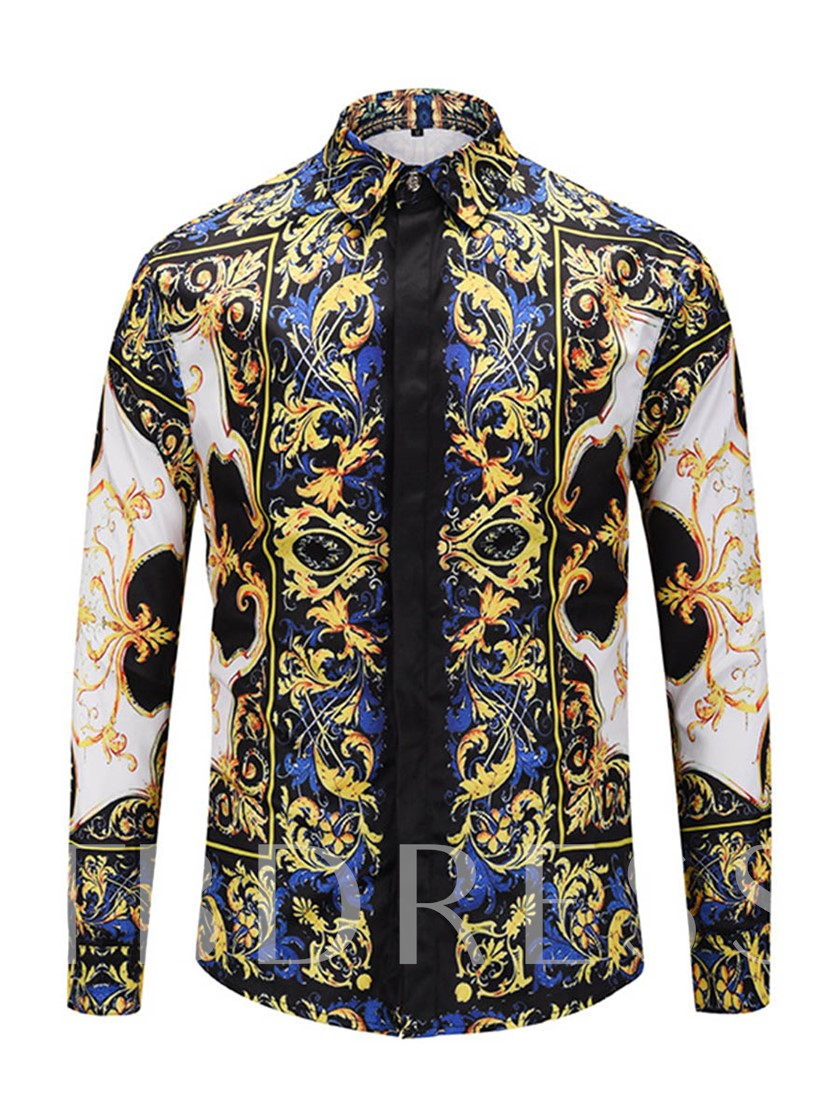 Square Collar Floral Print Men's Shirt
