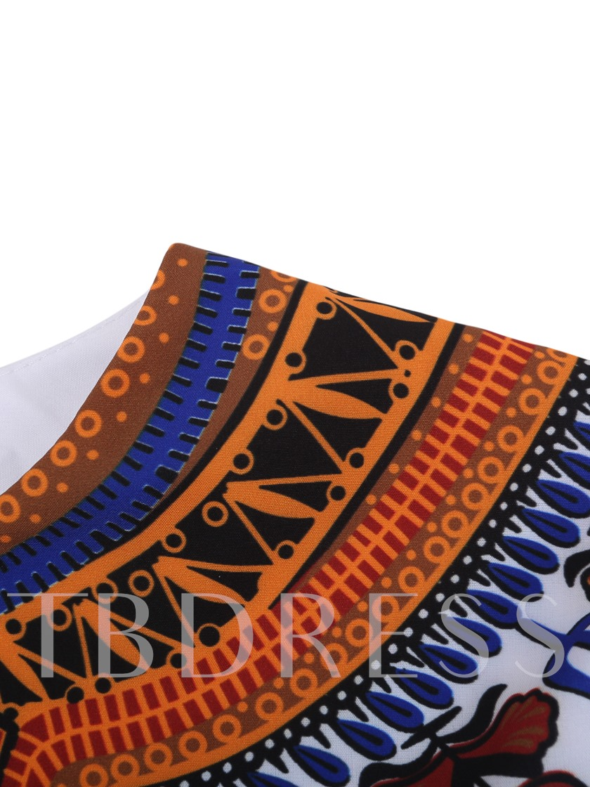 African Fashion Dashiki Lapel African Print Plain Slim Men's Shirt
