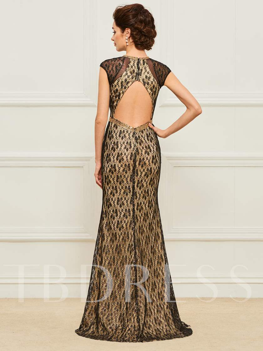Scoop Lace Cap Sleeves Beading Backless Evening Dress