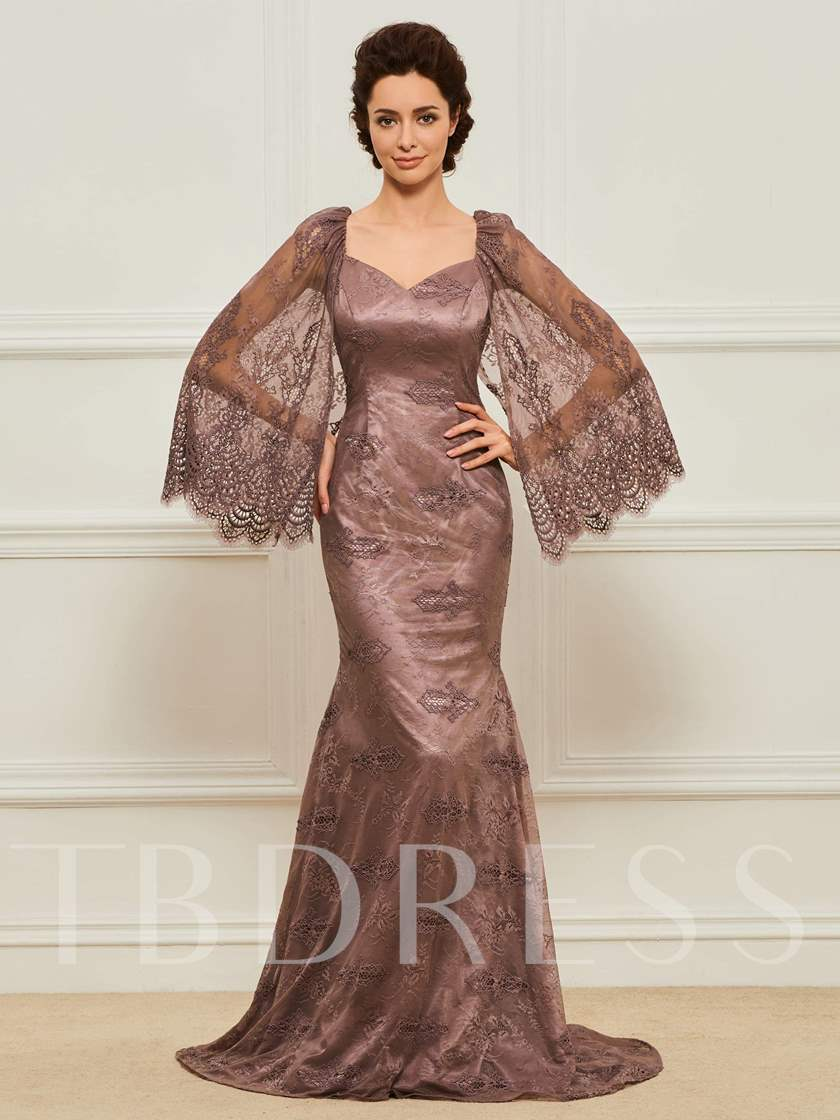Lace Mermaid Mother of the Bride Dress with Sleeve