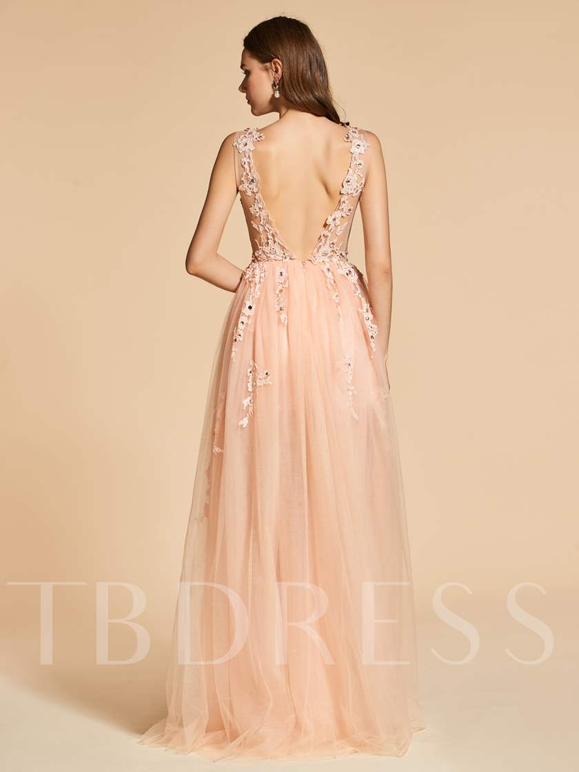 Rhinestone A-Line Scoop Appliques Backless Evening Dress