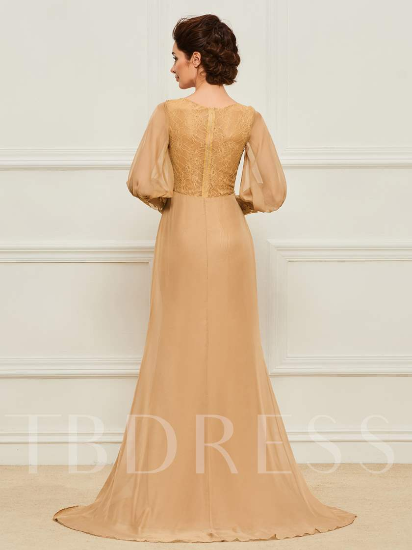 Appliques Long Sleeve Lace Mother of the Bride Dress
