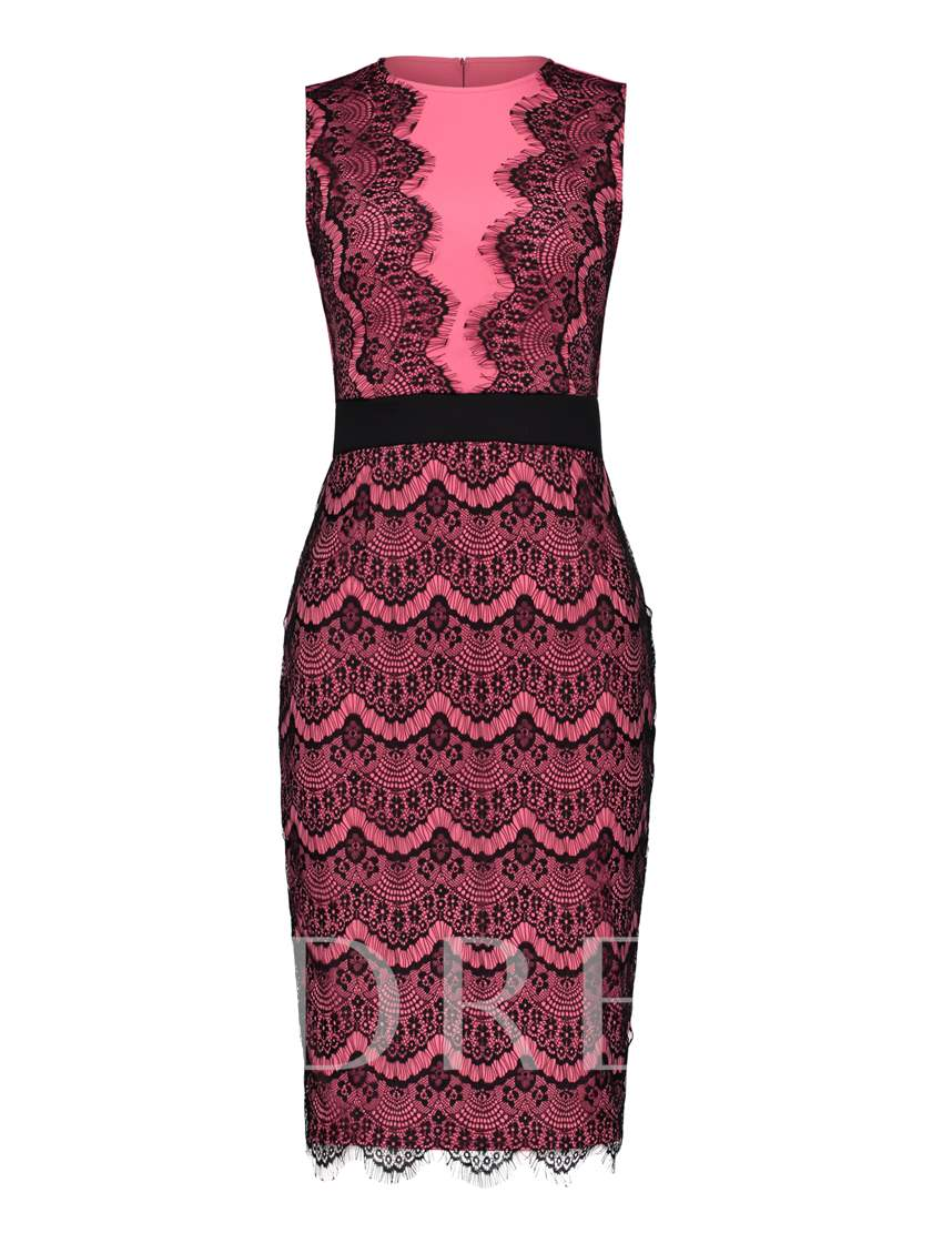 Color Block Sleeveless Women's Lace Dress