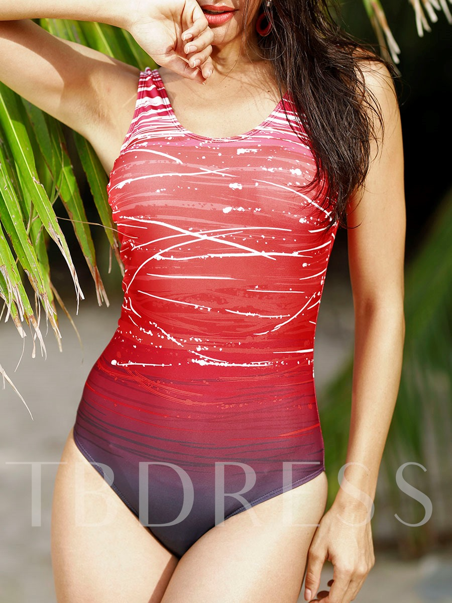 U-Neck Gradient Print One-Piece Swimsuit