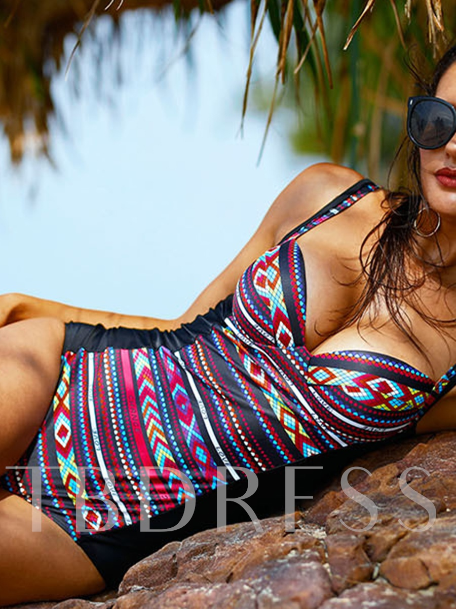 Sexy Geometric Print Patchwork One-Piece Swimsuit