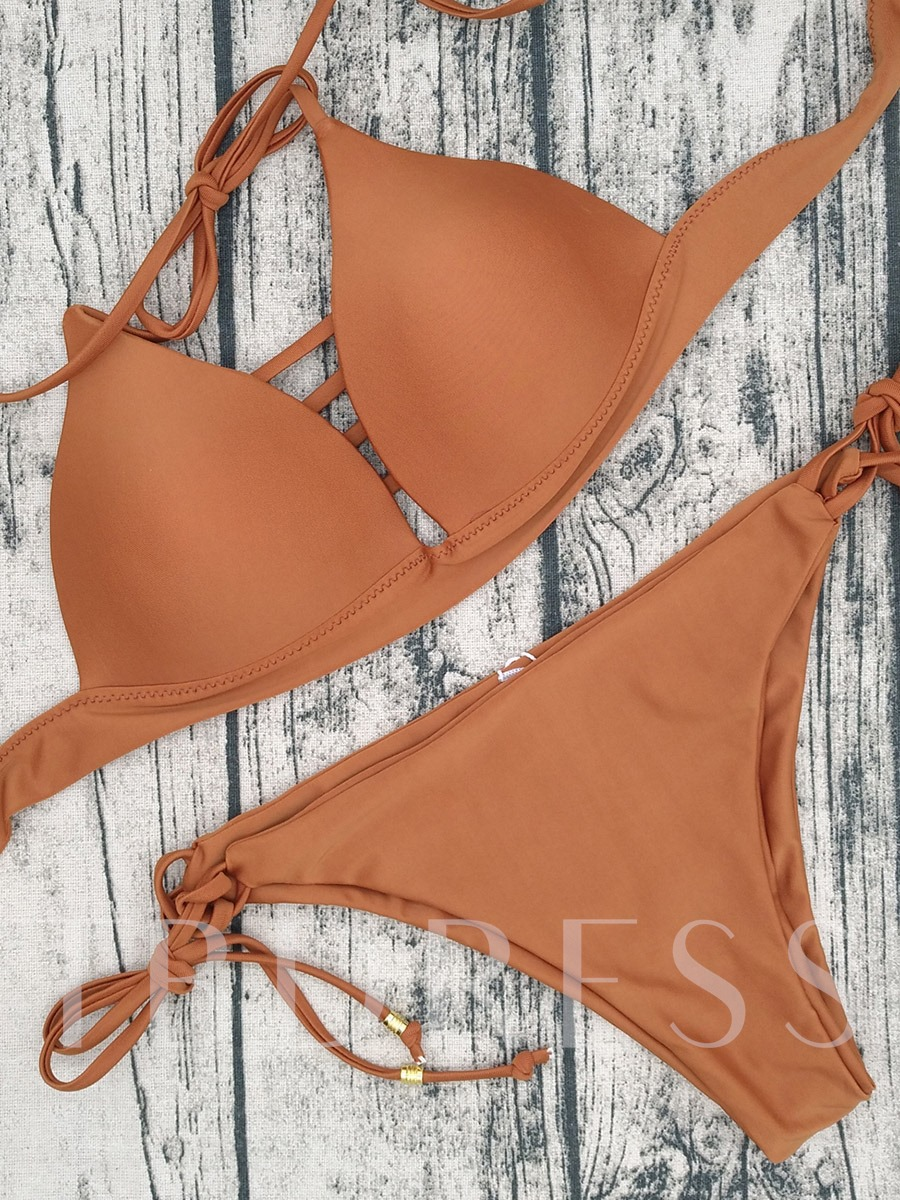 Absorbing Hollow Solid Color Bikini Set