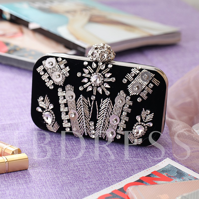 Rhinestone Embroidery Corduroy Mini Clutch