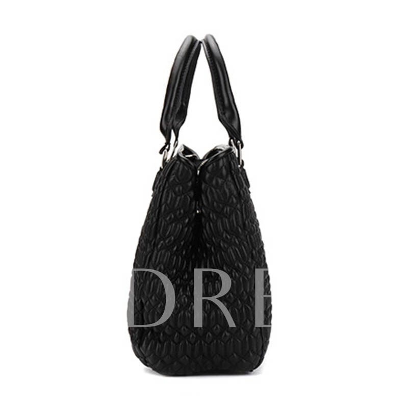 Pleated Soft PU Zipper Tote Bag