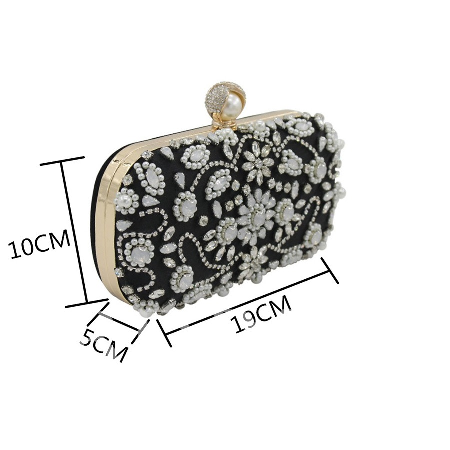 Vintage Velour Beads Rhinestone Women Clutch