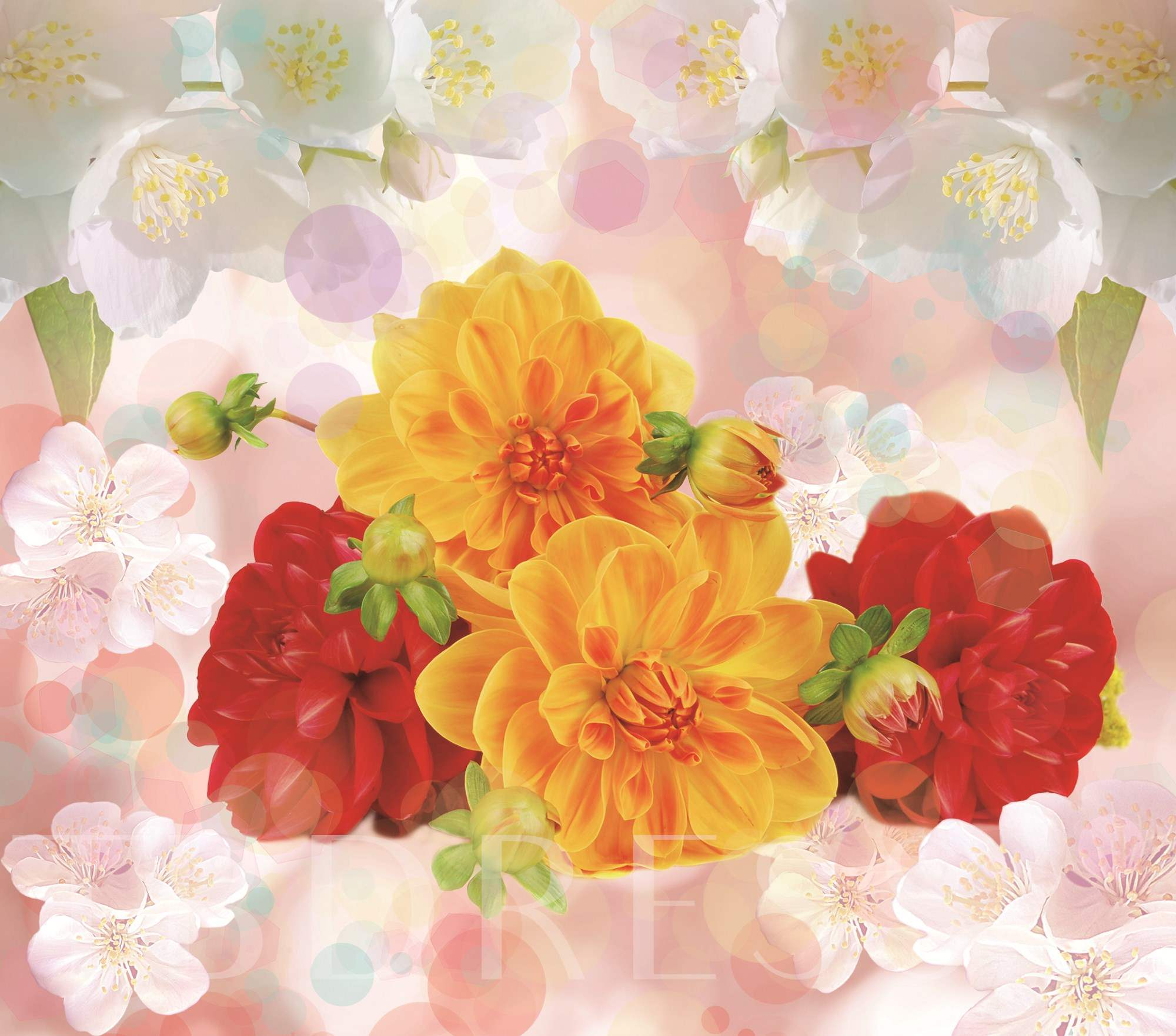 Yellow and Red Flowers Printed 4-Piece 3D Bedding Sets/Duvet Covers