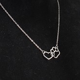 Hollow Out Cat-Pad Heart Necklace