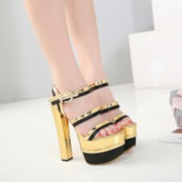 Platform Chunky Heel Golden Sandals for Women