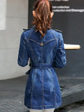 Slim Lace-Up Mid-Length Denim Women's Trench Coat