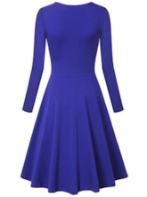 V Neck Plain Women's Day Dress