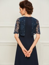 Beading Lace Half Sleeves Mother of the Bride Dress