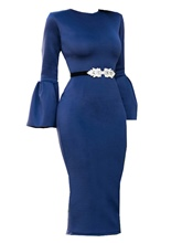 Blue Bell Sleeve Women's Pencil Dress